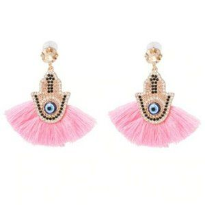 Pink Gold Evil Eye Crystal Hamsa Tassel Earrings